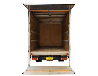 Large truck with lifter for hire rearview