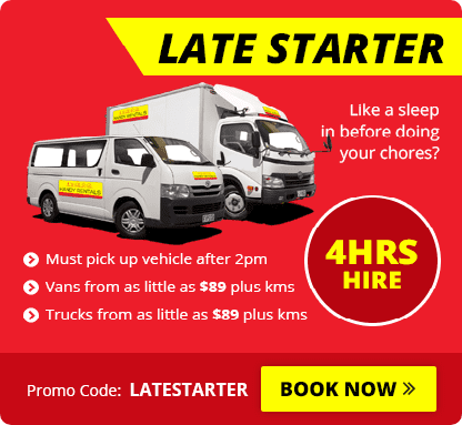 Handy Rentals late starter promo.